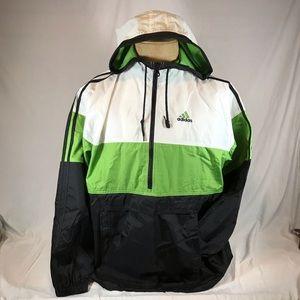 Adidas 1/2 Zip Windbreaker Jacket Hood Logo
